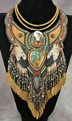 Jewelry Design - Bib-Style Necklace with Seed Beads, Gemstone Beads and Cabochons and Metal Drops - Fire Mountain Gems and Beads