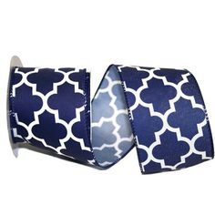 """Moroccan Geometric Print Size: 2.5"""" width; 10 yards length Color: Navy, White Wire Edge"""