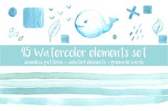 45 watercolor elements set by AnnaLytvynenko on @creativemarket