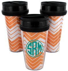 Orange & White Chevron Acrylic Travel Tumbler by U Personalized