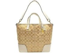 NWT- Coach Hadley Leather/Jacquard Duffle Tot. Starting at $22 on Tophatter.com!