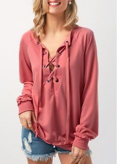 Pink Lace Up Long Sleeve Sweatshirt on sale only US$31.28 now, buy cheap Pink Lace Up Long Sleeve Sweatshirt at liligal.com