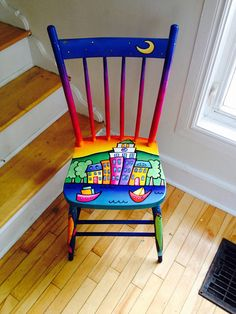 Beautifully hand-painted chair of Halifaxs old town clock at sunset. What a conversation piece! Can be sat on daily or put in a corner to enjoy for years and add some pizazz to any space Art Furniture, Decoupage Furniture, Funky Furniture, Colorful Furniture, Furniture Makeover, Furniture Movers, Furniture Design, Hand Painted Chairs, Whimsical Painted Furniture