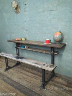 Vintage Victorian Industrial School Cast Iron + Wooden Work Bench Table Desk