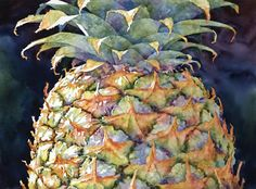 Sue Archer / Pineapple Top / 22 x 30 Pretty sure this is watercolor Watercolor Fruit, Fruit Painting, Watercolor Flowers, Pineapple Watercolor, Famous Watercolor Artists, Warm And Cool Colors, Fruit Art, Botanical Art, Painting Inspiration