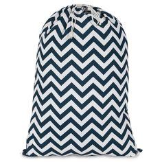 Printed Laundry Bag-Navy Chevron