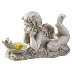 "Summertime Reflections Cherub Design Toscano Exclusive 18"" Long Garden Statue #DesignToscanoExclusive"