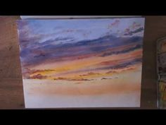 "Démo aquarelle ""coucher de soleil"" (sunset watercolor tutorial) - YouTube"
