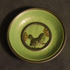 P Ipsen Enke Pottery Jade Green Bird & Berries Pin Dish Denmark Bornholm Vintage #Danish