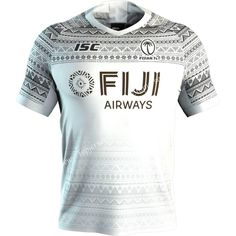 Fijian club logo (left chest) ISC logo (right chest) Fiji Airways logo (front and back) Fiji flag (left sleeve) World Rugby HSBC Seven Series logo (right sleeve) Woven locker label Shirt tail hem for a superior fit Sport Shirt Design, Sports Jersey Design, Soccer Shirts, Sports Shirts, Rugby 7's, Rugby Jerseys, Badminton Logo, World Cup Kits, Shirt Designs