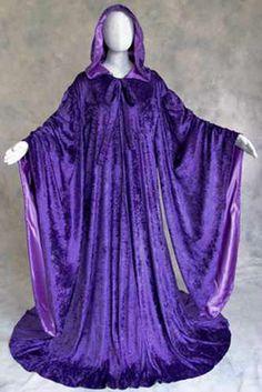 Purple Velvet Robe Wizard Cloak Wicca LARP LOTR Costume #Artemisia