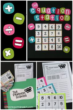 Strengthen critical thinking skills with the equation station, a differentiated early finishers or center activity Math Early Finishers, Early Finishers Activities, Fast Finishers, Fifth Grade Math, Fourth Grade, Sixth Grade, Grade 3, Math Bulletin Boards, Math Enrichment