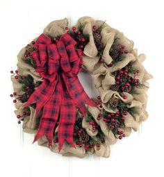 Christmas Wreath Burlap Wreath Pinecone by GrandEntranceWreaths
