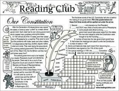 U.S. CONSTITUTION - Teach about the U.S. Constitution and the Constitutional Convention with this fun and educational activity page!