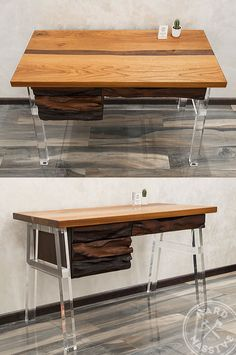 Modern Work Desk table made of wooden slabs Chinar and Hornbeam. Design table in the style of a river filled with epoxy resin. Legs out Plexiglas acrylic with diamond polishing. #workdeskwood #tabledesign #tableresin #tableworkdesign #moderntabledesign