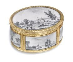 A Louis XV gold snuff box, Pierre Sylvain Mornay, Paris, 1769 | Lot | Sotheby's mounted en cage with grisaille port and river scenes