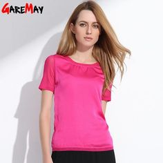 904cab3f99 t shirt women 2017 chiffon silk short sleeve o-neck solid 12 color brand for