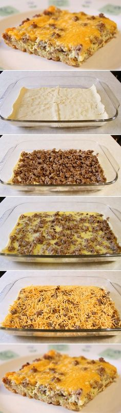 *Not so yummy* Breakfast Casserole. Our favorite breakfast for dinner! You can also make ahead and pop into the oven in the morning. Breakfast Desayunos, Breakfast Dishes, Breakfast Recipes, Sausage Breakfast, Breakfast Cassarole, Breakfast Burritos, Breakfast Casserole With Croissants, Ground Beef Breakfast, Gastronomia