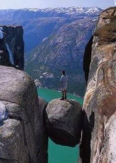 Kjeragbolten  boulder, located in the Kjerag mountain in Rogaland, Norway.