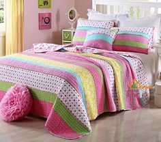 HNNSI 3 Piece Kids Girls Comforter Quilt Sets Queen Size, Pink Dot Striped for sale online Pink Bedroom Set, Girls Bedroom Sets, Girls Bedding Sets, Girl Bedrooms, Girls Bedspreads, Kids Comforters, Striped Bedding, Green Bedding, Pink Bedding