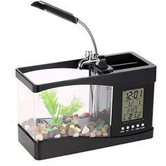 Acuario Natural de peces con pantalla LCD y Luz de LED.