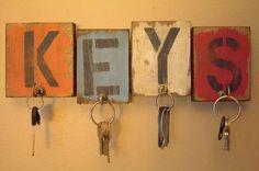 "Wooden distressed key holder 13""x4"""