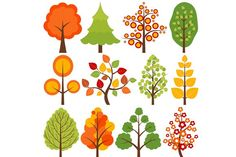 Colorful Trees Graphics Digital Trees Clip Art - Tree, Flowers, Nature, Leaves, Vector, Branch, Fir Tree Clip Art. Commercia by LoveGraphicDesign