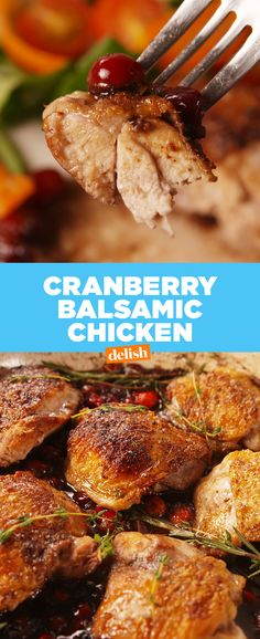 This is the chicken recipe you'll be making all season long. Get the recipe at Delish.com. #chicken #recipes #easyrecipe #Balsamic #Cranberry #dinner #rosemary #Thyme