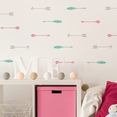Cheap wall sticker, Buy Quality decoration murale directly from China sticker remover Suppliers: Beauty Arrows Nursery Bedroom Home Art Cute Decor Mural Set Pattern Wall Stickers Removable Waterproof Walldecal Nursery Wall Stickers, Wall Decal Sticker, Cool Wall Art, Wall Patterns, Textured Walls, Decoration, Girl Room, Home Art, Flamingo