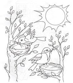 Image orig in Kyzkinapapa's images album Bird Coloring Pages, Coloring Pages For Kids, Coloring Sheets, Birthday Cake Gif, Art Worksheets, Bird Crafts, Image Notes, Drawing For Kids, Spring Crafts