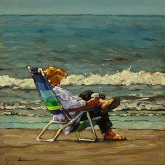 "Daily Paintworks - ""Coffee Grounds"" - Original Fine Art for Sale - © Karin Jurick Painting People, Figure Painting, Vintage Poster, Illustrations, Beach Scenes, Klimt, Coffee Art, Beach Art, Fine Art Gallery"