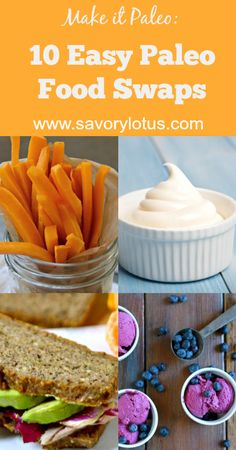 10 Easy Paleo Food Swaps - savorylotus.com. I wouldn't call these easy, but I like the info!