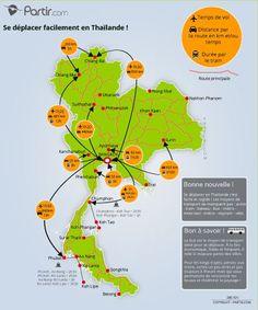 Carte des trajets THAILANDE Khon Kaen, Chiang Rai, Bangkok, Travel Around The World, Trip Planning, How To Plan, Distance, Jungles, Temples