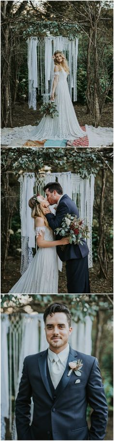 Boho wedding fashion, leafy flower crown, vintage off-the-shoulder lace wedding dress, charcoal grey groom's suit // Sealed with a Kiss Photography