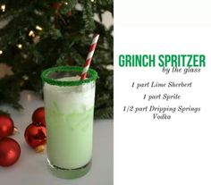 "Mama made these when we were kids - idk if it had sprite or not lol! Christmas Drink / Cocktail: ""Grinch Spritzer"" Lime sherbert, sprite and vodka - I would leave out the vodka and serve as super cute kiddie cocktails :) Party Drinks, Cocktail Drinks, Fun Drinks, Yummy Drinks, Cocktail Recipes, Alcoholic Drinks, Drink Recipes, Mixed Drinks, Bomb Drinks"