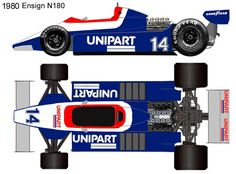 1980 Ensign N180 formula 1 Blueprint Drawing, Ground Effects, Mclaren Mp4, Sport Cars, Grand Prix, F1, Legends, Racing, Colors