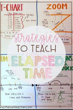 Let me help you to teach elapsed time with these four different strategies. Check out these tips and ideas to include in a lesson while grabbing a FREEBIE! Teaching Time, Teaching Math, Maths, Math Fractions, Teaching Ideas, Third Grade Math, Grade 3, Sixth Grade, Math Anchor Charts