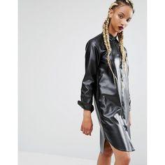 AmenPapa My Chains Are Gone PU Shirt Dress (6.100 RUB) ❤ liked on Polyvore featuring dresses, black, t-shirt dresses, embroidery dress, shirt dress, long shirt dress and curved hem dress