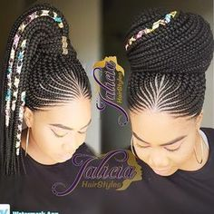 Gone are the days when cornrow hairstyles were rocked by older women and a few section of ladies but today it has become one of the most popular braided hairstyles but not only because it is easy to handle, but because it can be done in different amazing Box Braids Hairstyles, Easy Black Hairstyles, Braided Cornrow Hairstyles, African Hairstyles, Summer Hairstyles, Trendy Hairstyles, Cornrows Ponytail, Hairstyle Ideas, Black Girl Braids