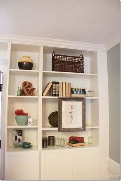 Billy bookcases with molding.
