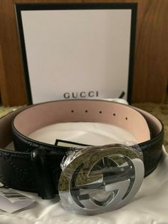 f72e27a32 New w/ Tags Authentic Black Guccissima Gucci Belt 100 cm fits waist