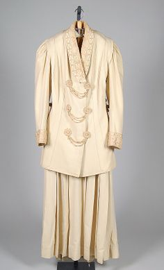 "1905-1909 wool and silk Walking suit by Aitken Son & Company, American. Label: ""Aitken Son & Co./Importers New York"".  Via MMA."