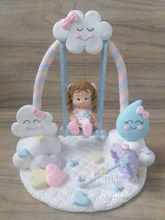 Topo de bolo personalizado de biscuit. - BE2B82 Baby Shower Cakes, Baby Shower Themes, Baby Shower Decorations, Cloud Party, Ballerina Cakes, Baby Birthday Cakes, Clay Fairies, Clay Baby, Cute Clay