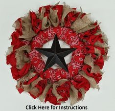 The Western Bandanna Wreath is a perfect addition to any country or rustic themed home! They are so easy to make too! Find the supplies and instructions here! Western Wreaths, Country Wreaths, Wreath Crafts, Diy Wreath, Wreath Ideas, Burlap Crafts, Xmas Crafts, Diy Crafts, Western Crafts