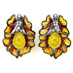 Handmade Real 9x7mm Yellow Dyed Chalcedony W Cz 925 Silver Fairy Enamel Earrings #Gemsporium #Huggie