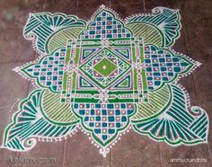 a padikolam in different shades of green for the second day of navrathri. Beautiful Rangoli Designs, Kolam Designs, Traditional Rangoli, Rangoli Simple, Padi Kolam, Diwali Rangoli, Different Shades Of Green, Mandala Drawing, Color Powder