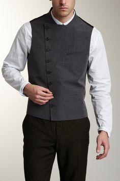 Asymmetric Button Front Waistcoat on HauteLook