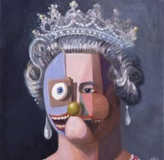 The American contemporary visual artist George Condo created this metaphysical print of the Queen in 2006.