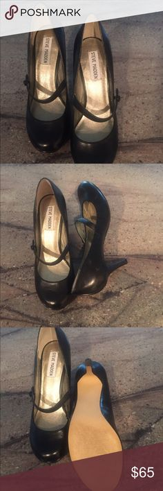 """Steve Madden Mary Janes. Really cute, lightly worn, black Mary Janes by Steve Madden. Heel is approx 2.25"""". Sadly these don't fit me anymore. They're in great condition. Size 6.5. Steve Madden Shoes Heels"""
