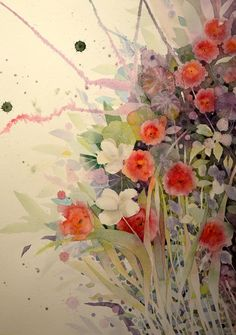 Portion, 50 x 70 cm. By Kira Mamontova. Watercolor Paintings, Watercolors, Cosmos, Free Images, Love Her, Daisy, Flowers, Floral Watercolor, Water Colors